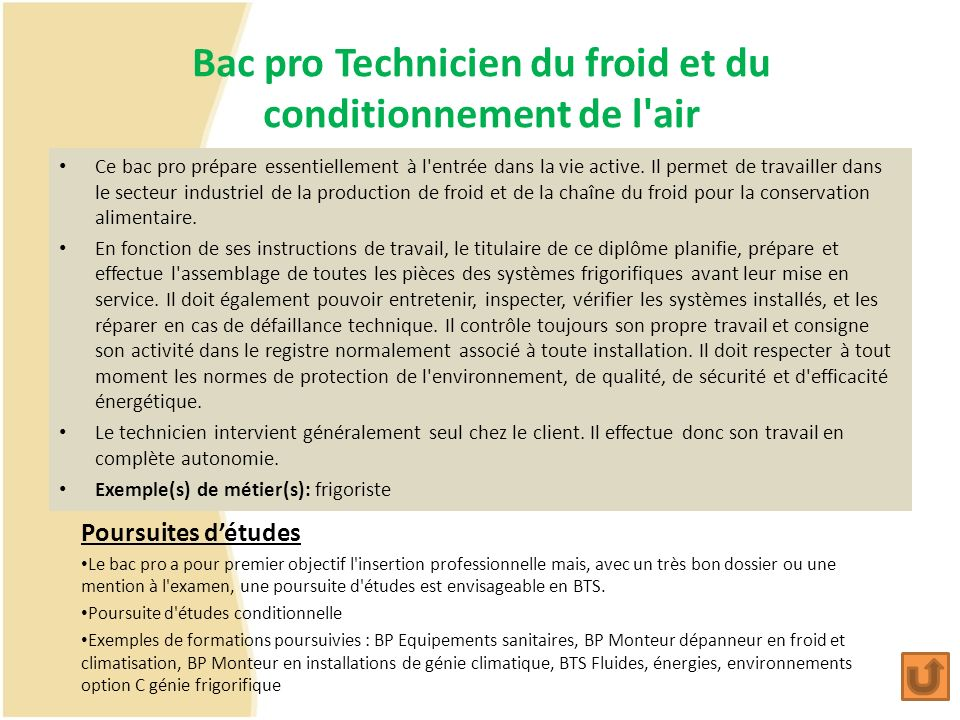 Bac pro Technicien du froid et du conditionnement de l air