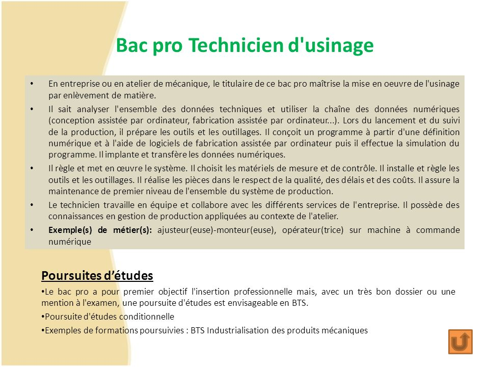 Bac pro Technicien d usinage