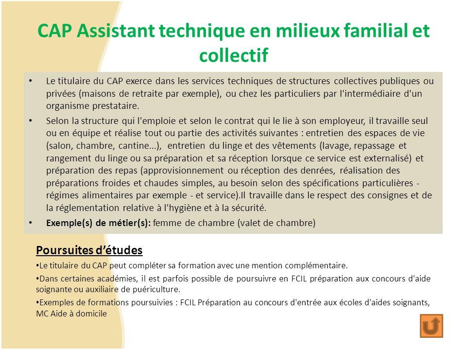 CAP Assistant technique en milieux familial et collectif