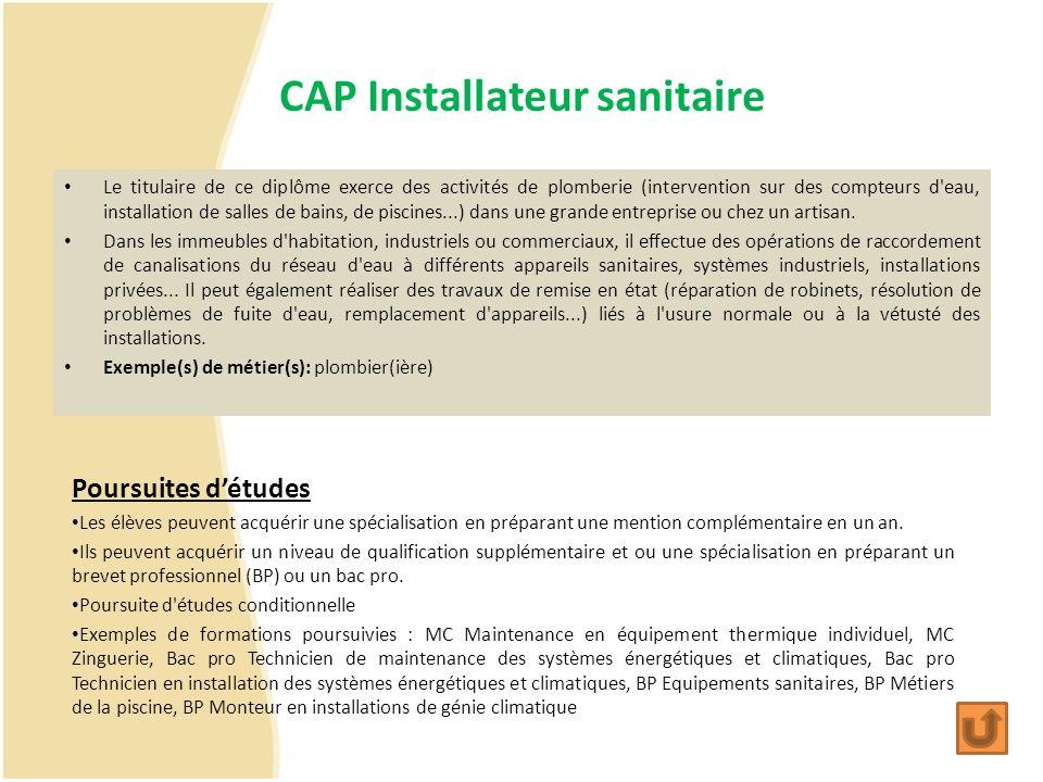 CAP Installateur sanitaire