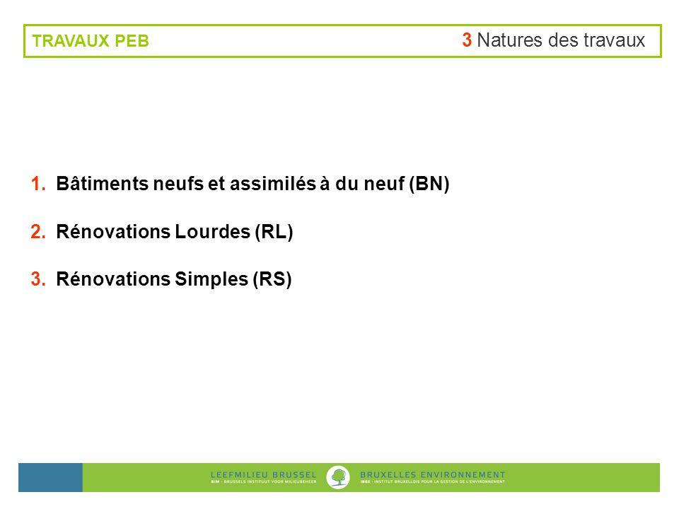Bâtiments neufs et assimilés à du neuf (BN) Rénovations Lourdes (RL)