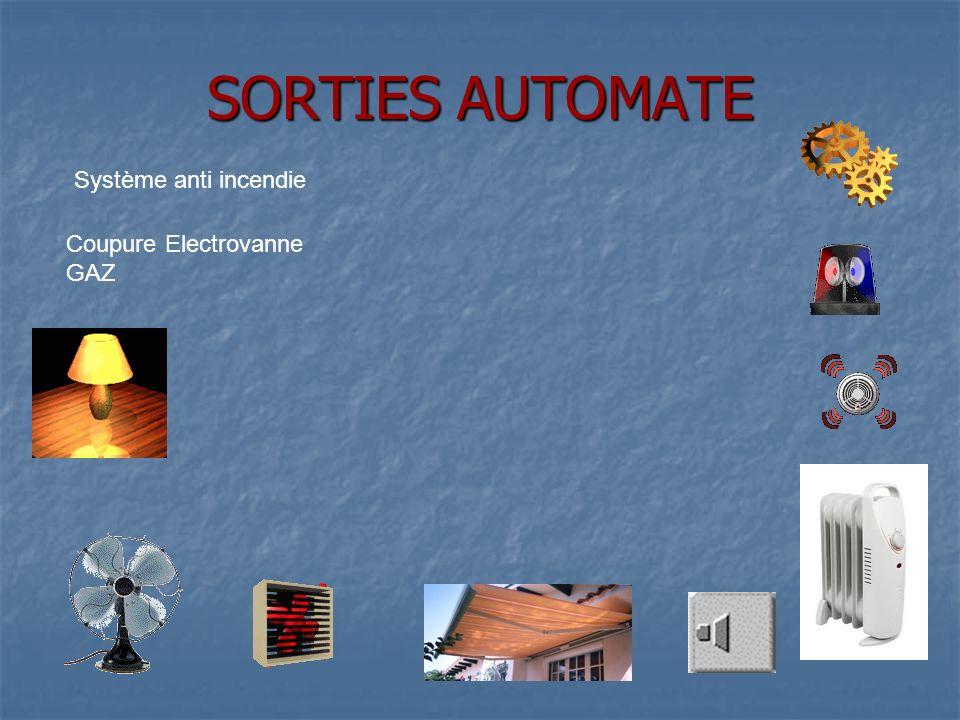 SORTIES AUTOMATE Système anti incendie Coupure Electrovanne GAZ