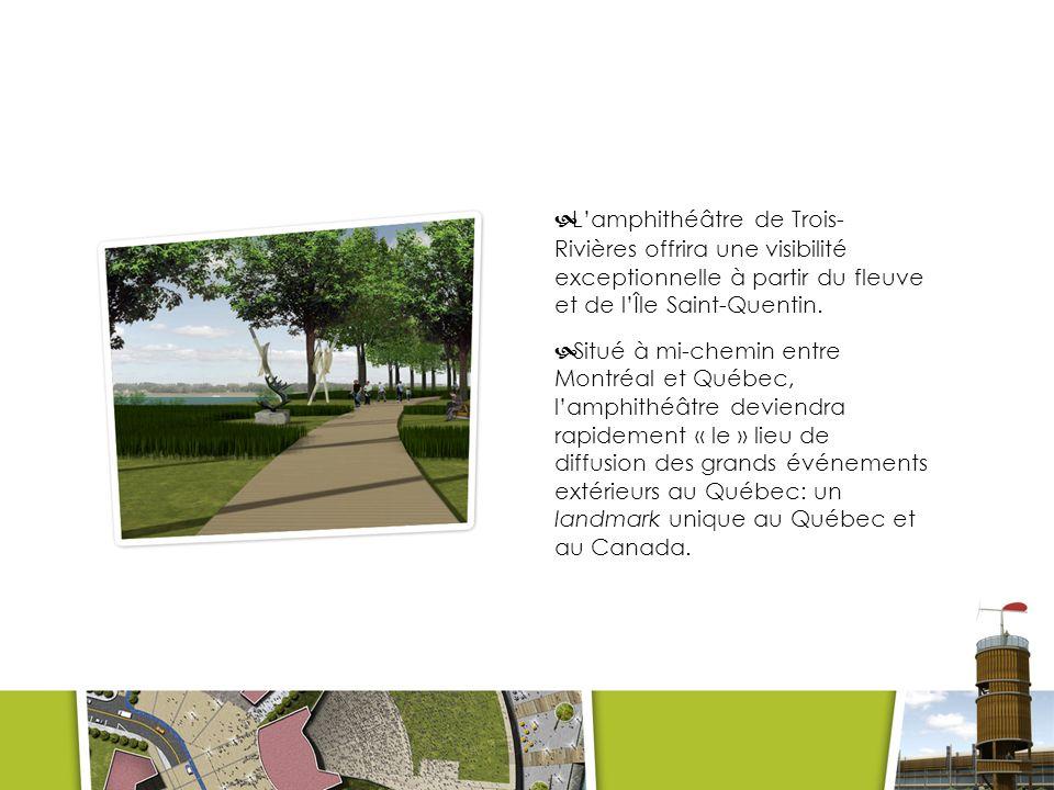 L'amphithéâtre de Trois-Rivières offrira une visibilité exceptionnelle à partir du fleuve et de l'Île Saint-Quentin.