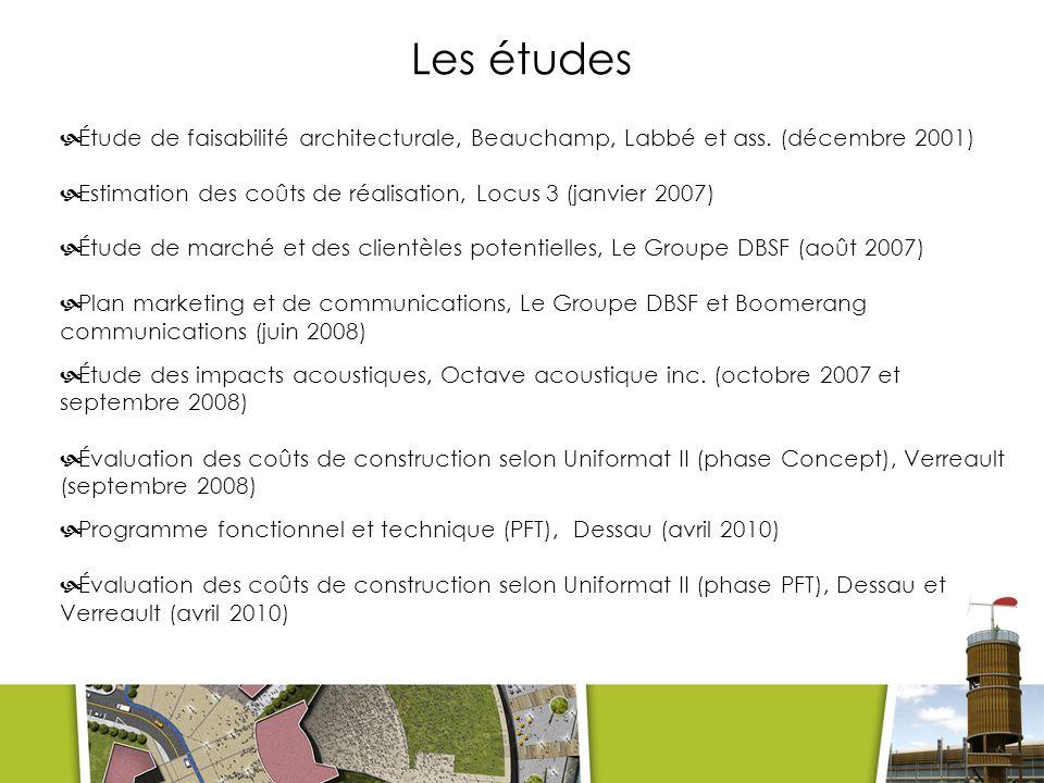 Les études Étude de faisabilité architecturale, Beauchamp, Labbé et ass. (décembre 2001) Estimation des coûts de réalisation, Locus 3 (janvier 2007)