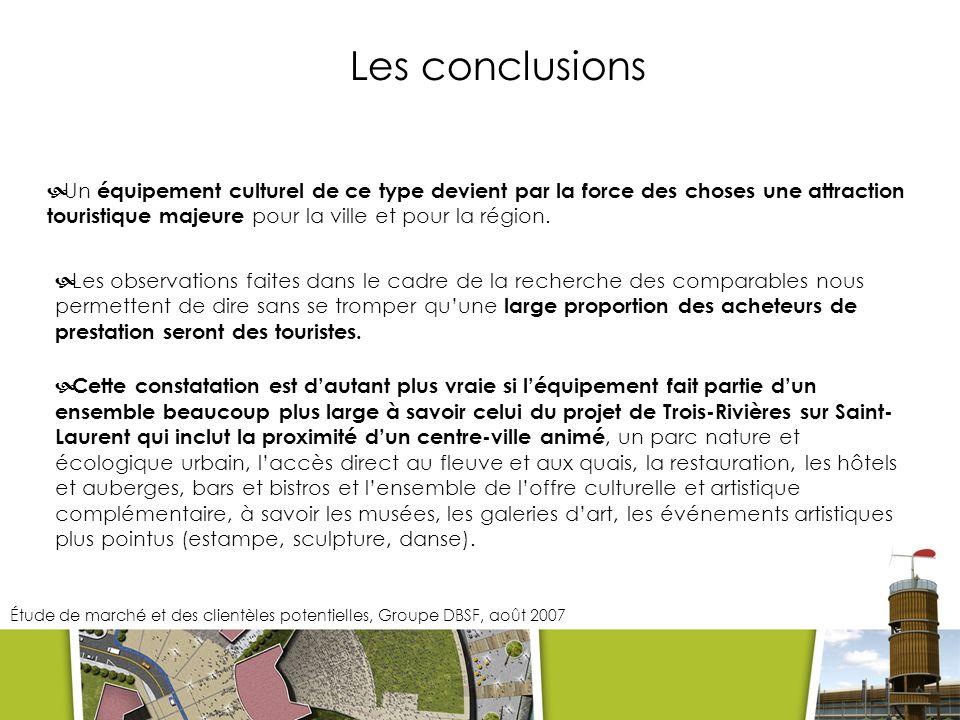 Les conclusions Un équipement culturel de ce type devient par la force des choses une attraction touristique majeure pour la ville et pour la région.