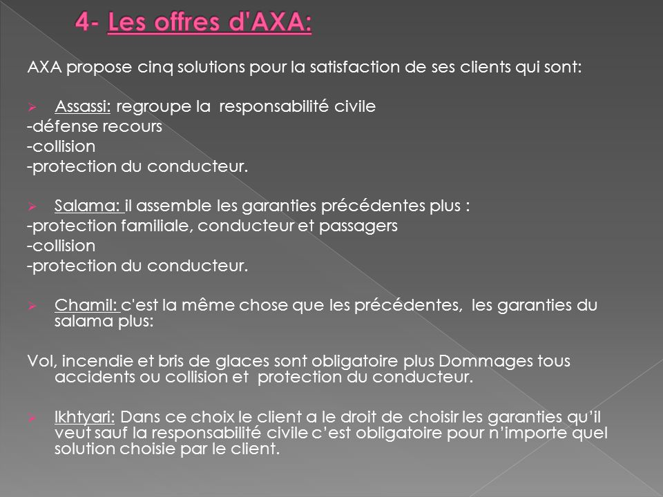 4- Les offres d AXA: AXA propose cinq solutions pour la satisfaction de ses clients qui sont: Assassi: regroupe la responsabilité civile.