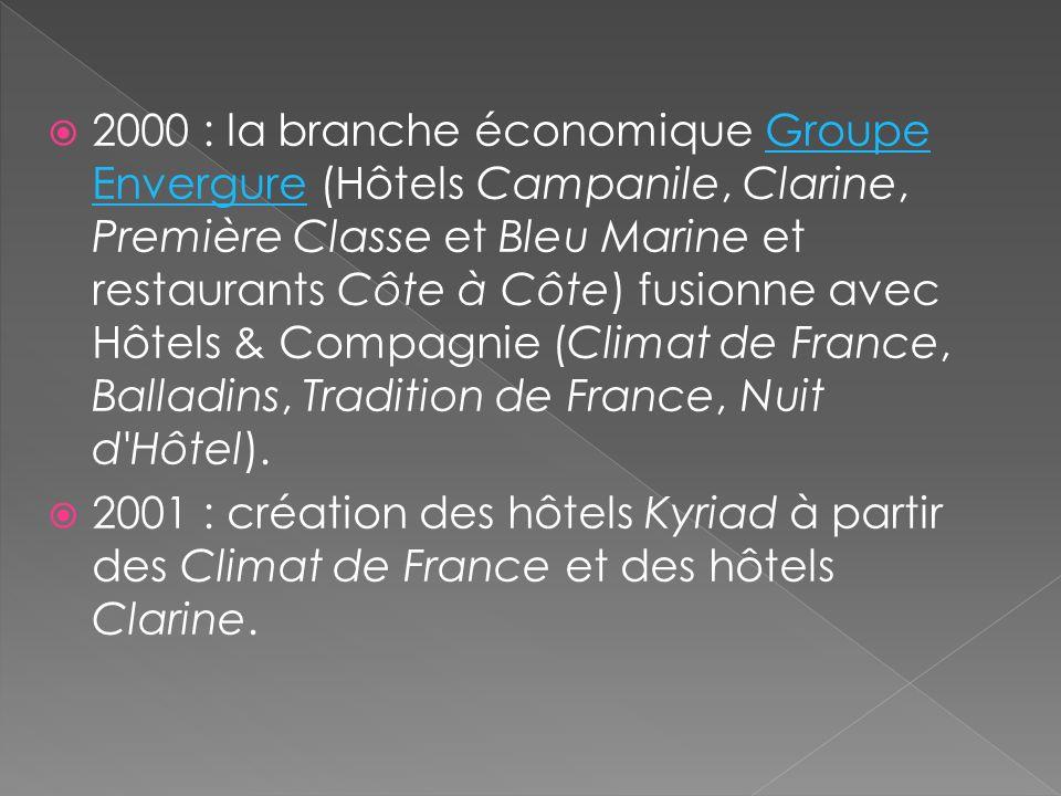 2000 : la branche économique Groupe Envergure (Hôtels Campanile, Clarine, Première Classe et Bleu Marine et restaurants Côte à Côte) fusionne avec Hôtels & Compagnie (Climat de France, Balladins, Tradition de France, Nuit d Hôtel).