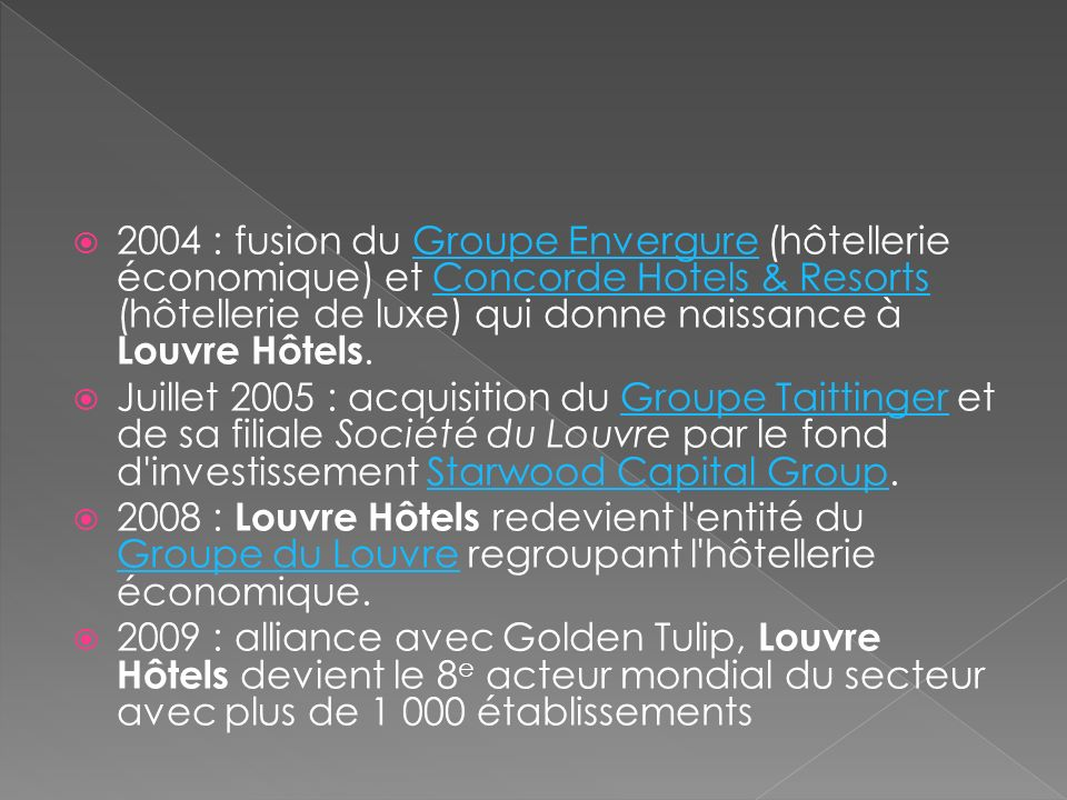 2004 : fusion du Groupe Envergure (hôtellerie économique) et Concorde Hotels & Resorts (hôtellerie de luxe) qui donne naissance à Louvre Hôtels.