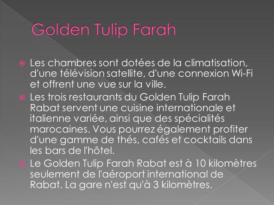 Golden Tulip Farah Les chambres sont dotées de la climatisation, d une télévision satellite, d une connexion Wi-Fi et offrent une vue sur la ville.