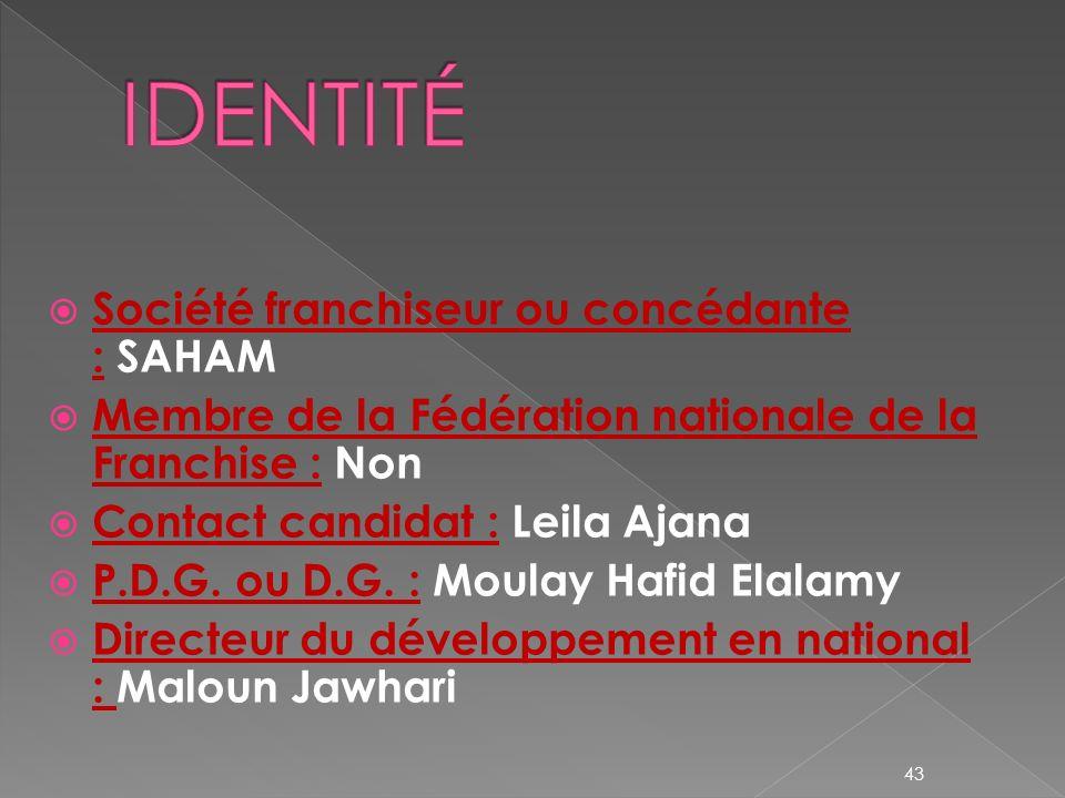 IDENTITÉ Société franchiseur ou concédante : SAHAM