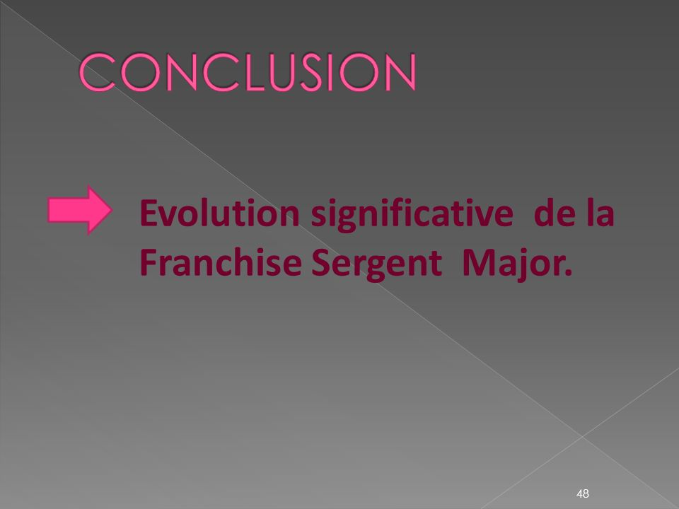 Evolution significative de la Franchise Sergent Major.