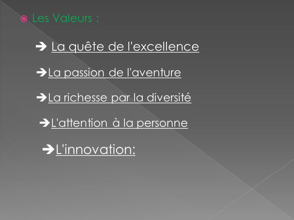 L innovation:  La quête de l excellence Les Valeurs :