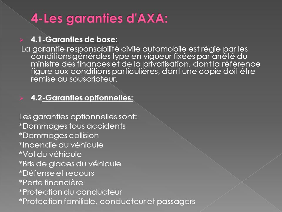 4-Les garanties d AXA: 4.1-Garanties de base: