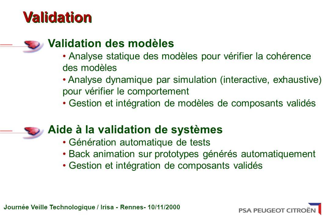 Validation Validation des modèles Aide à la validation de systèmes
