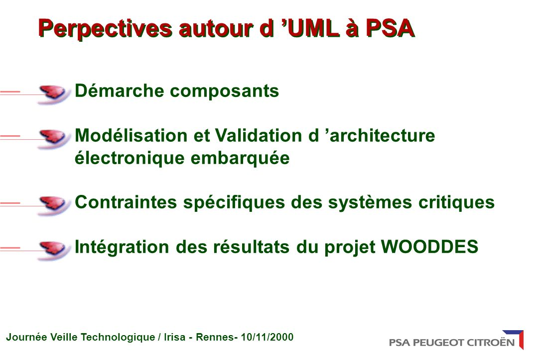 Perpectives autour d 'UML à PSA