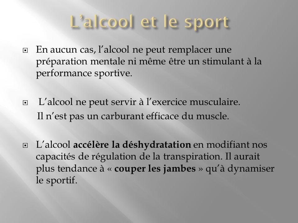 L'alcool et le sport En aucun cas, l'alcool ne peut remplacer une préparation mentale ni même être un stimulant à la performance sportive.