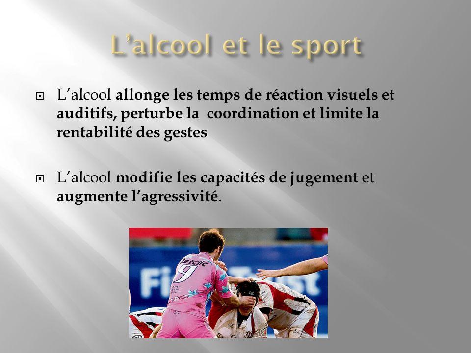 L'alcool et le sport L'alcool allonge les temps de réaction visuels et auditifs, perturbe la coordination et limite la rentabilité des gestes.