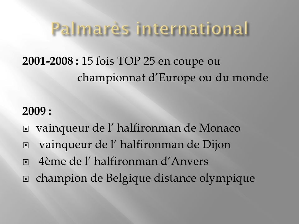 Palmarès international