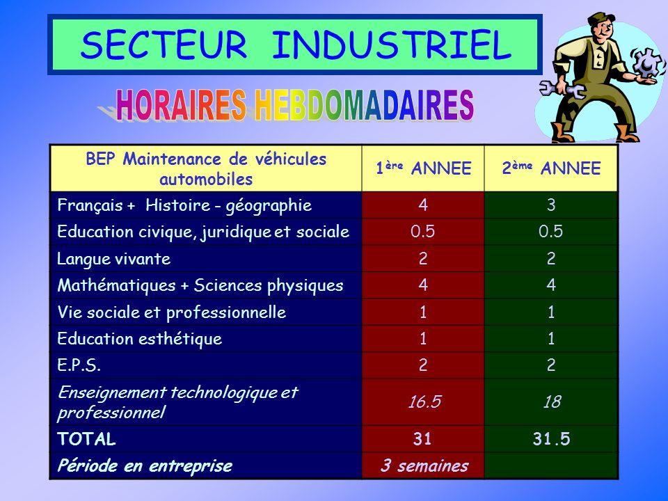 BEP Maintenance de véhicules automobiles