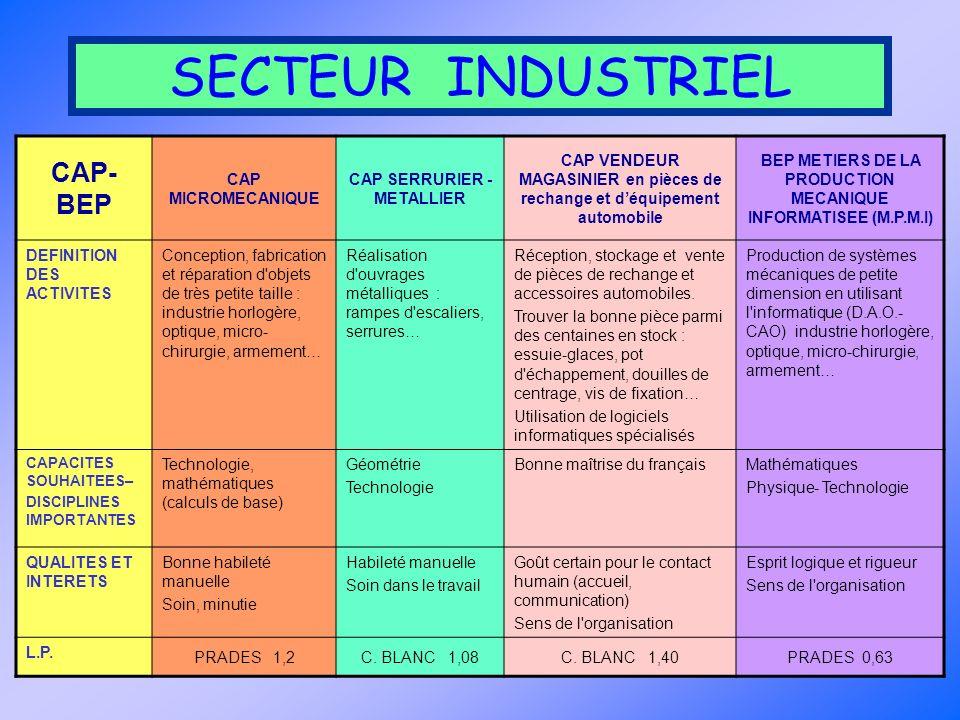 SECTEUR INDUSTRIEL CAP-BEP CAP MICROMECANIQUE