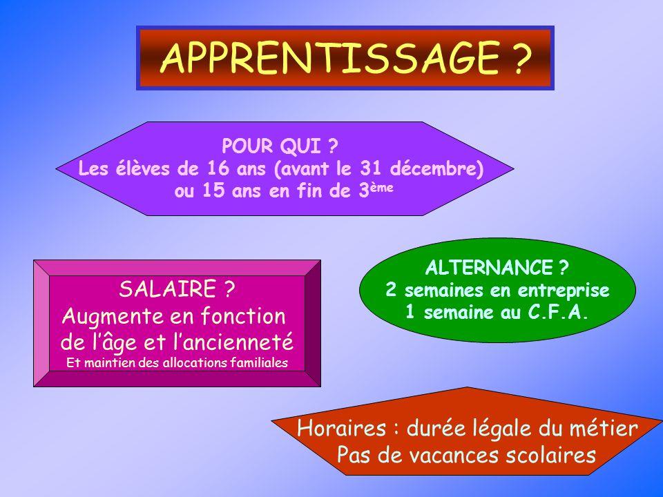 Les élèves de 16 ans (avant le 31 décembre) 2 semaines en entreprise
