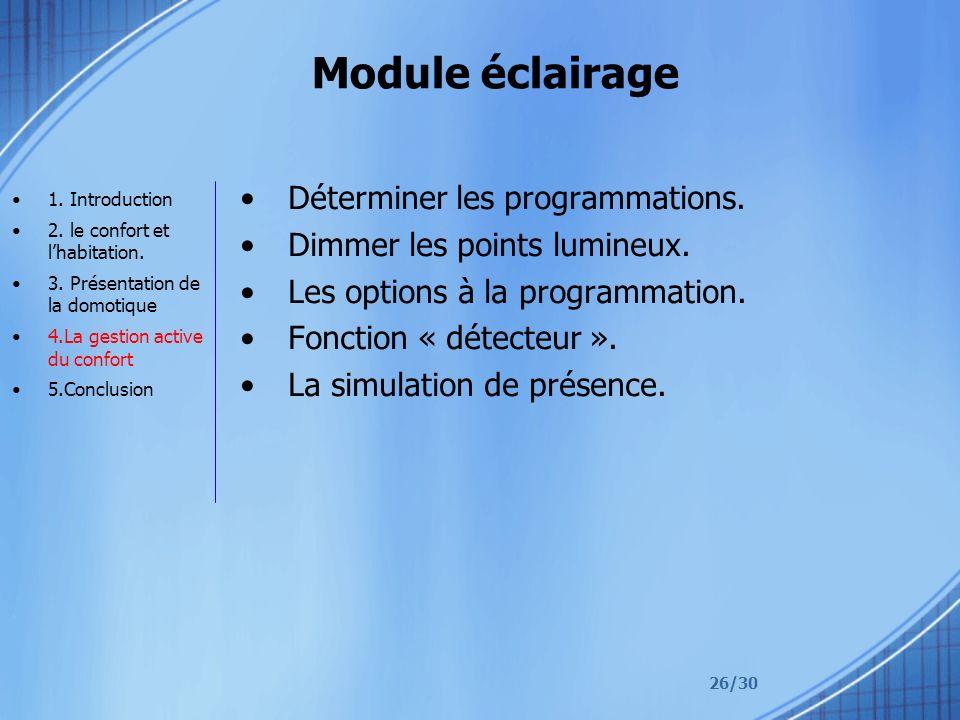 Module éclairage Déterminer les programmations.