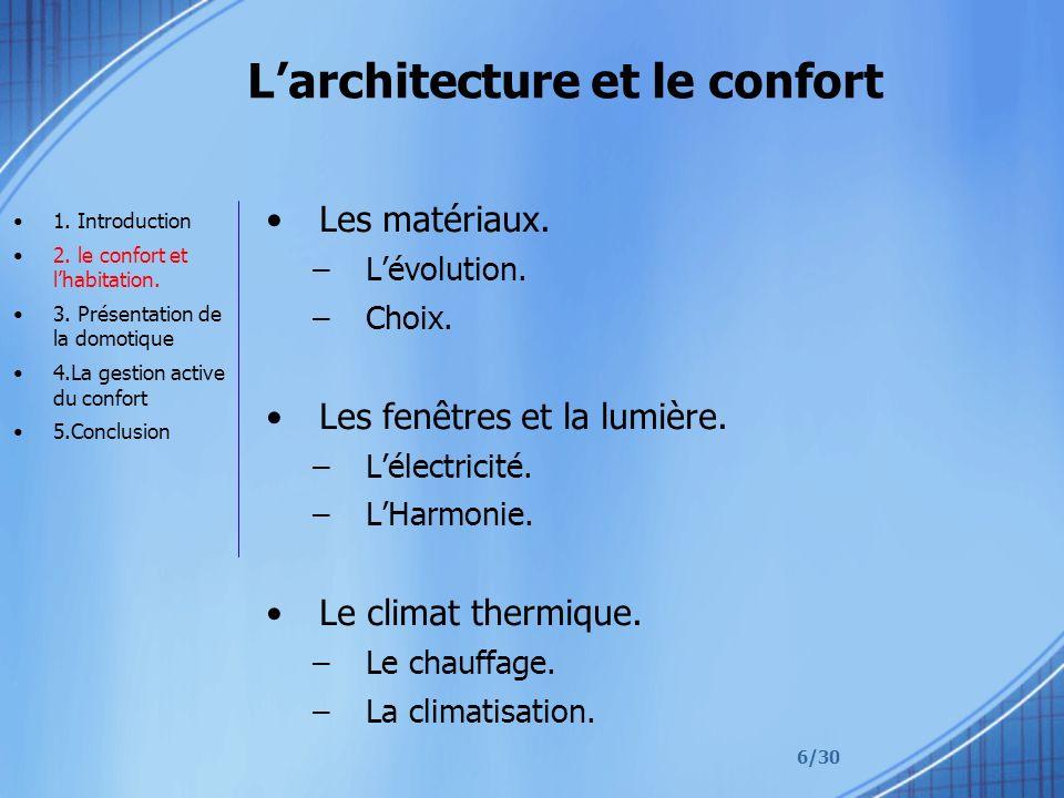 L'architecture et le confort