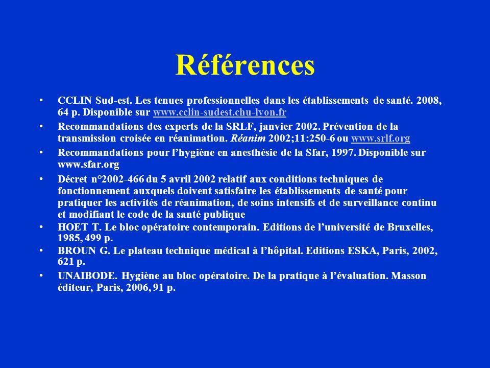 Références CCLIN Sud-est. Les tenues professionnelles dans les établissements de santé. 2008, 64 p. Disponible sur www.cclin-sudest.chu-lyon.fr.