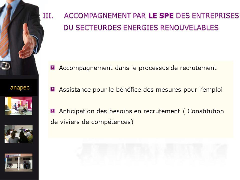 ACCOMPAGNEMENT PAR LE SPE DES ENTREPRISES DU SECTEURDES ENERGIES RENOUVELABLES