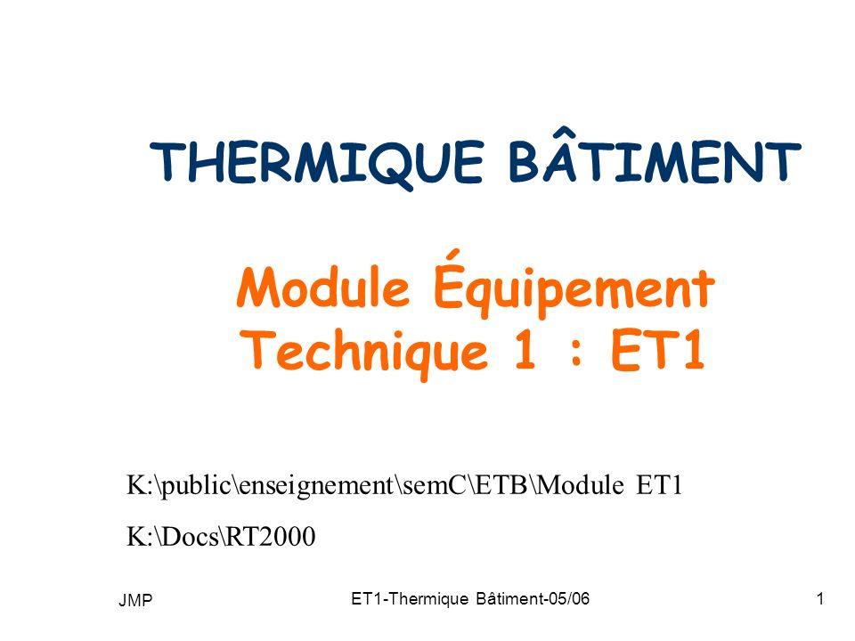 THERMIQUE BÂTIMENT Module Équipement Technique 1 : ET1