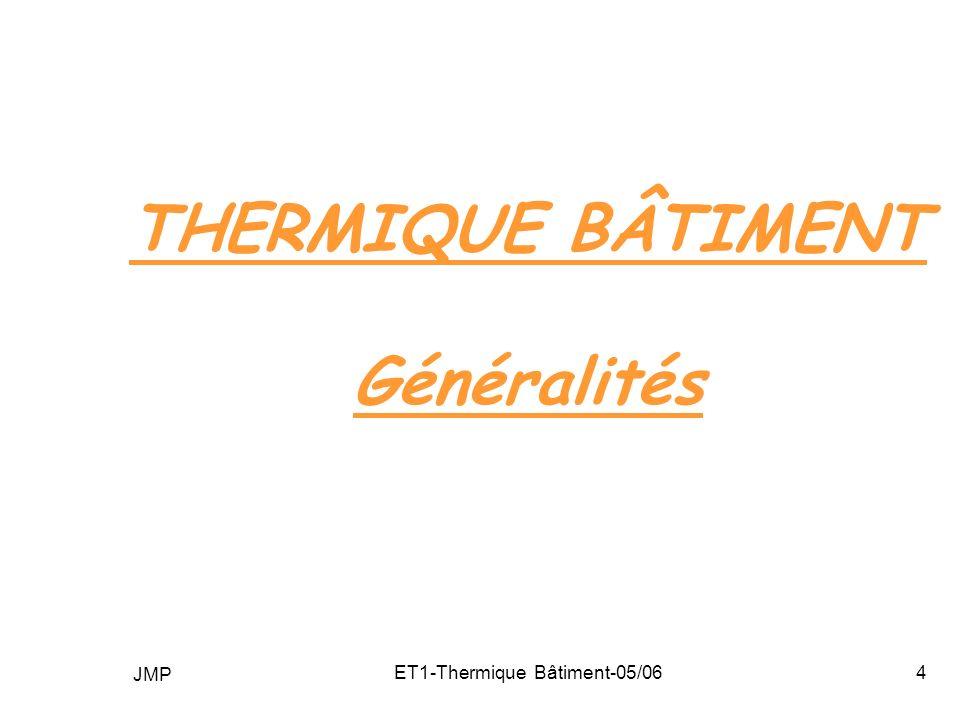 THERMIQUE BÂTIMENT Généralités