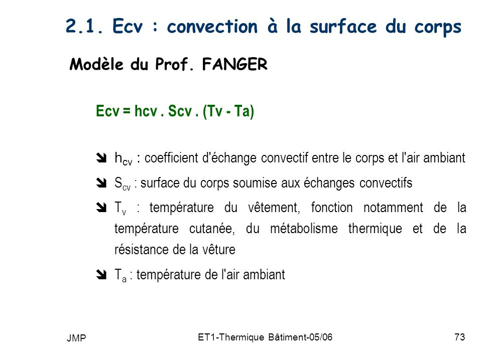 2.1. Ecv : convection à la surface du corps