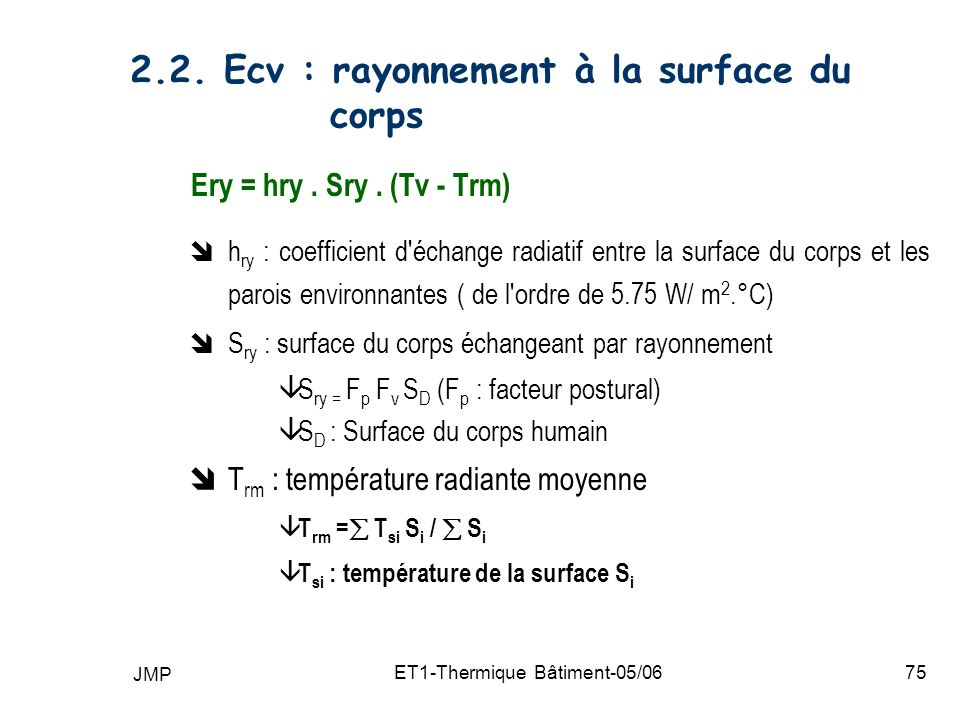 2.2. Ecv : rayonnement à la surface du corps