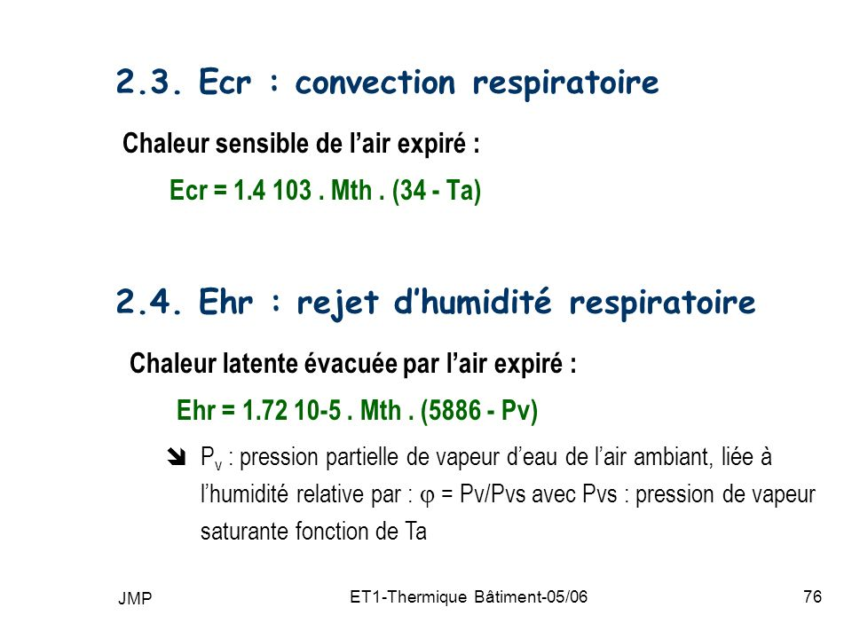 2.3. Ecr : convection respiratoire