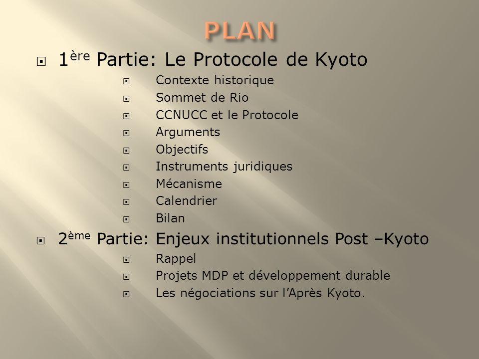PLAN 1ère Partie: Le Protocole de Kyoto