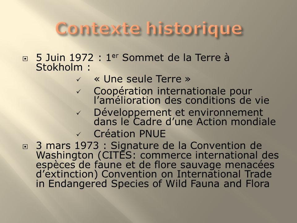 Contexte historique 5 Juin 1972 : 1er Sommet de la Terre à Stokholm :
