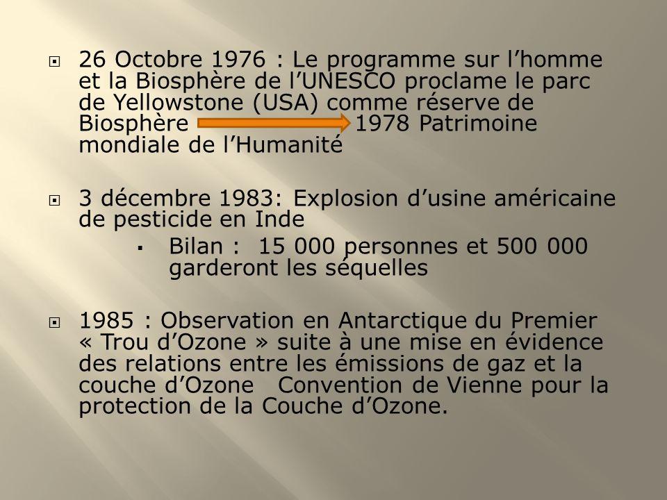 26 Octobre 1976 : Le programme sur l'homme et la Biosphère de l'UNESCO proclame le parc de Yellowstone (USA) comme réserve de Biosphère 1978 Patrimoine mondiale de l'Humanité