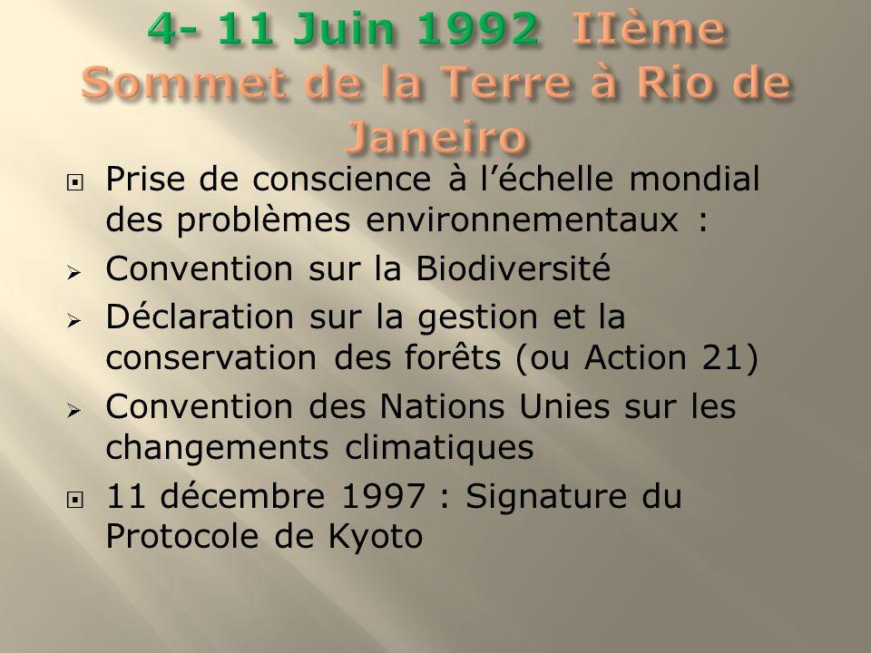 4- 11 Juin 1992 IIème Sommet de la Terre à Rio de Janeiro