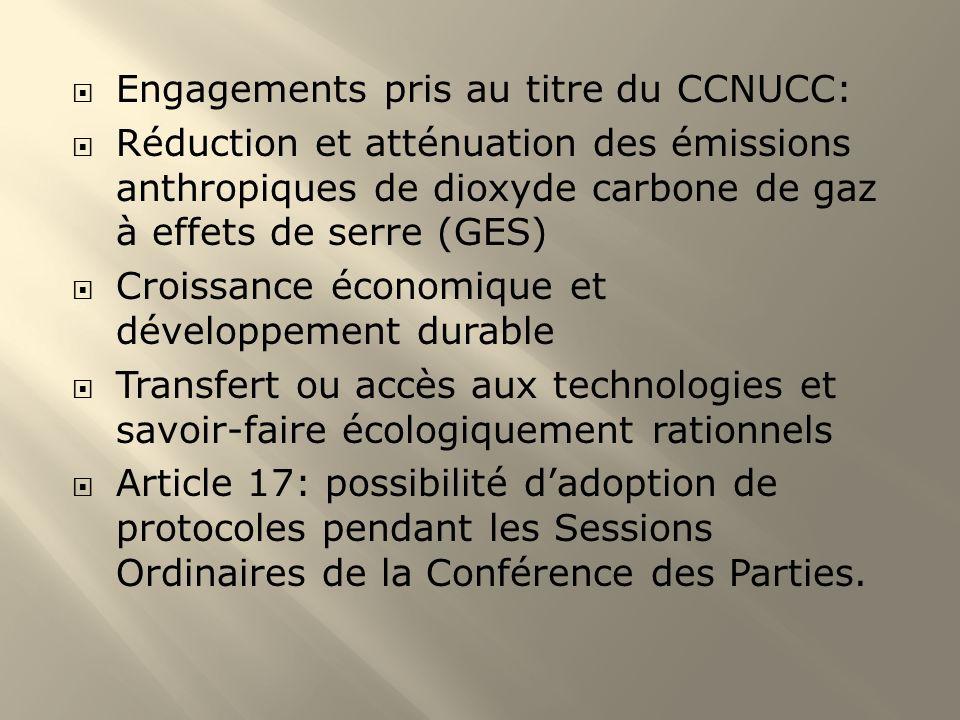 Engagements pris au titre du CCNUCC: