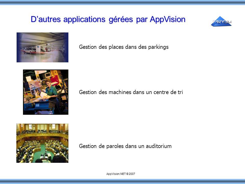D'autres applications gérées par AppVision