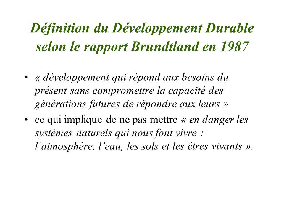 Définition du Développement Durable selon le rapport Brundtland en 1987