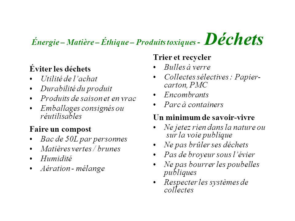 Énergie – Matière – Éthique – Produits toxiques - Déchets