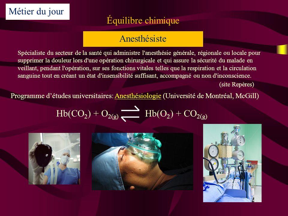 Hb(CO2) + O2(g) Hb(O2) + CO2(g)