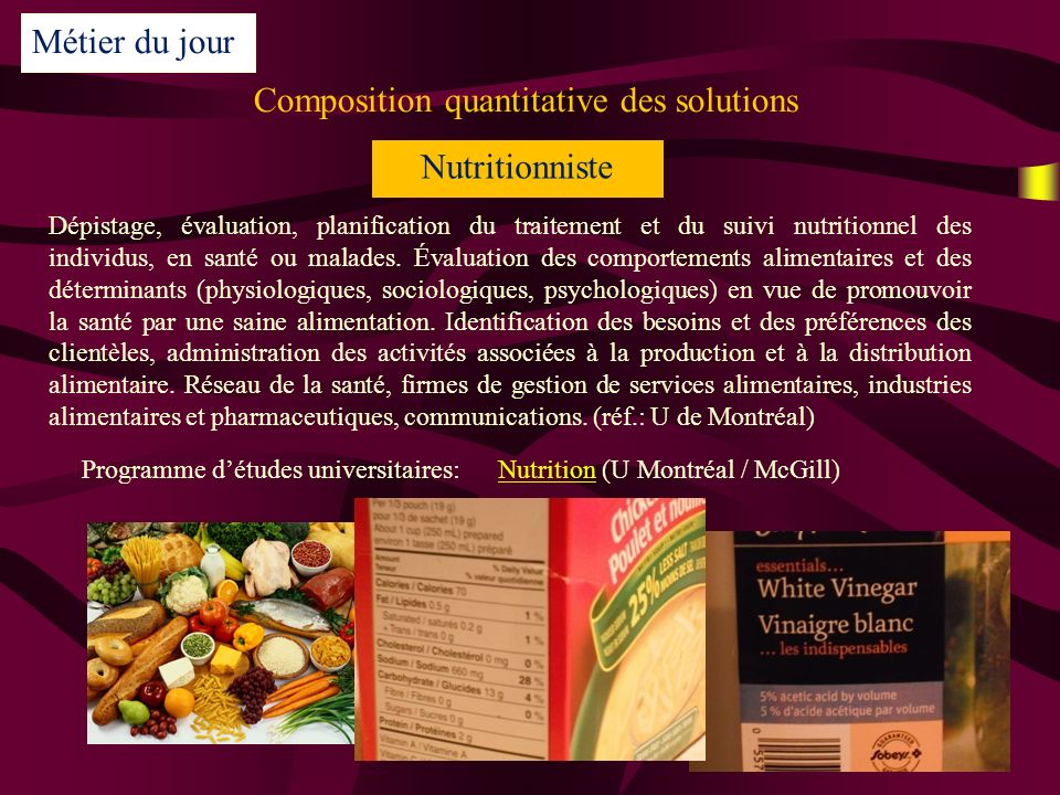 Composition quantitative des solutions