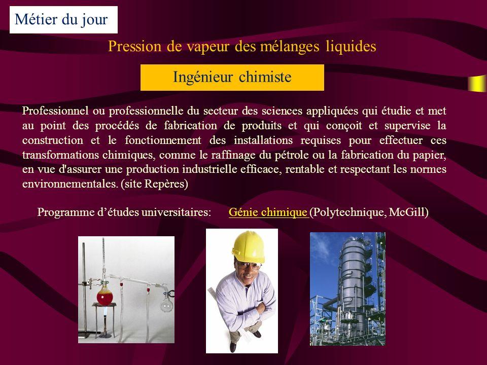 Pression de vapeur des mélanges liquides