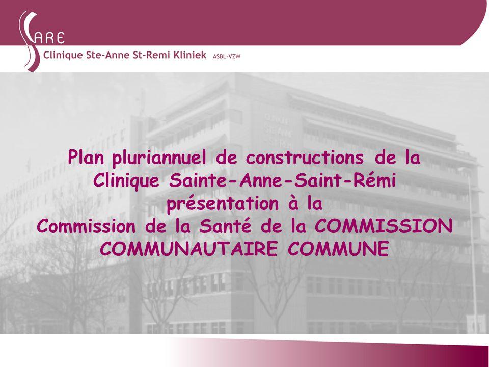 Plan pluriannuel de constructions de la Clinique Sainte-Anne-Saint-Rémi présentation à la Commission de la Santé de la COMMISSION COMMUNAUTAIRE COMMUNE