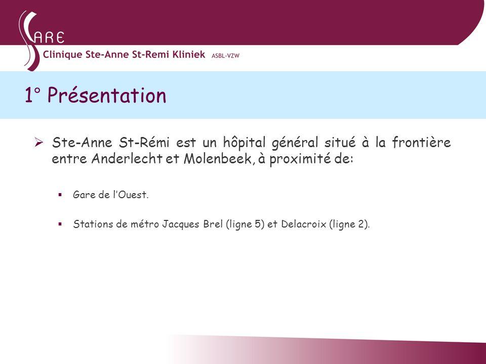 1° Présentation Ste-Anne St-Rémi est un hôpital général situé à la frontière entre Anderlecht et Molenbeek, à proximité de: