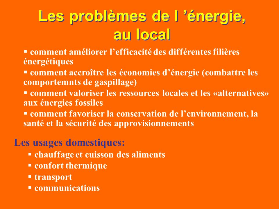 Les problèmes de l 'énergie, au local