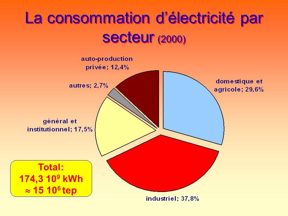 La consommation d'électricité par secteur (2000)