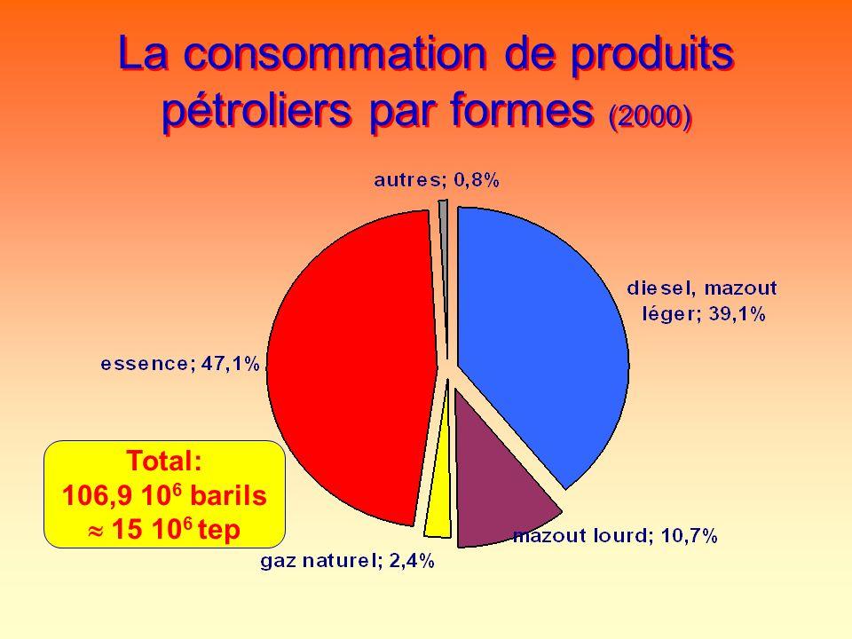 La consommation de produits pétroliers par formes (2000)